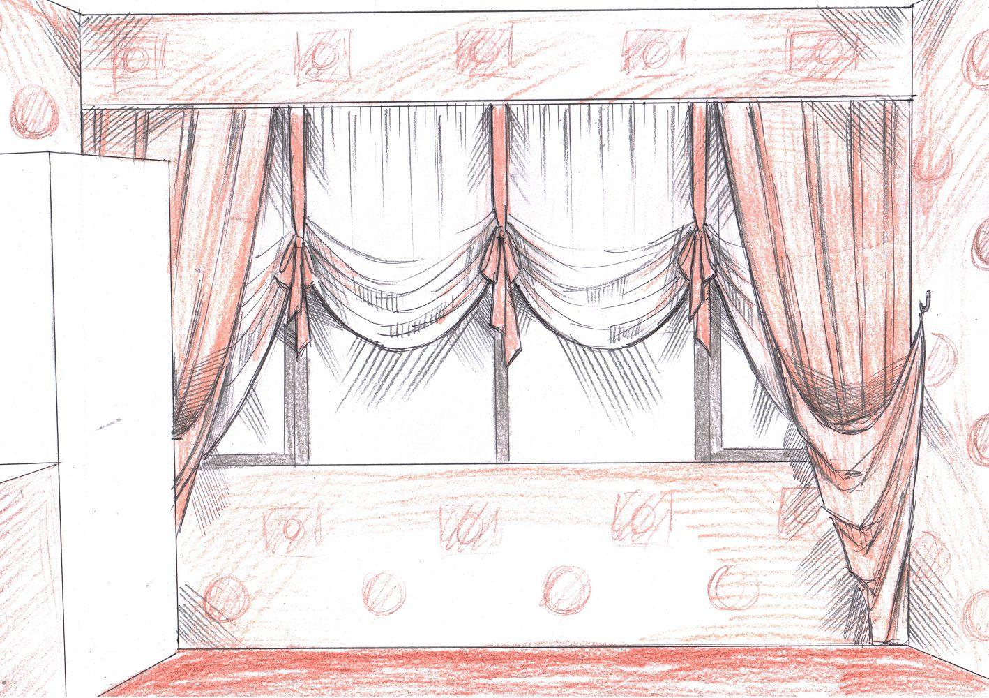 хочется превратить эскизы штор для кухни фото миске