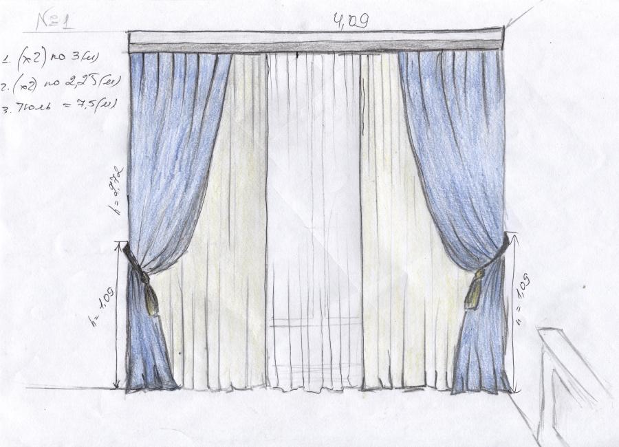 картинка как нарисовать шторы нарисовала